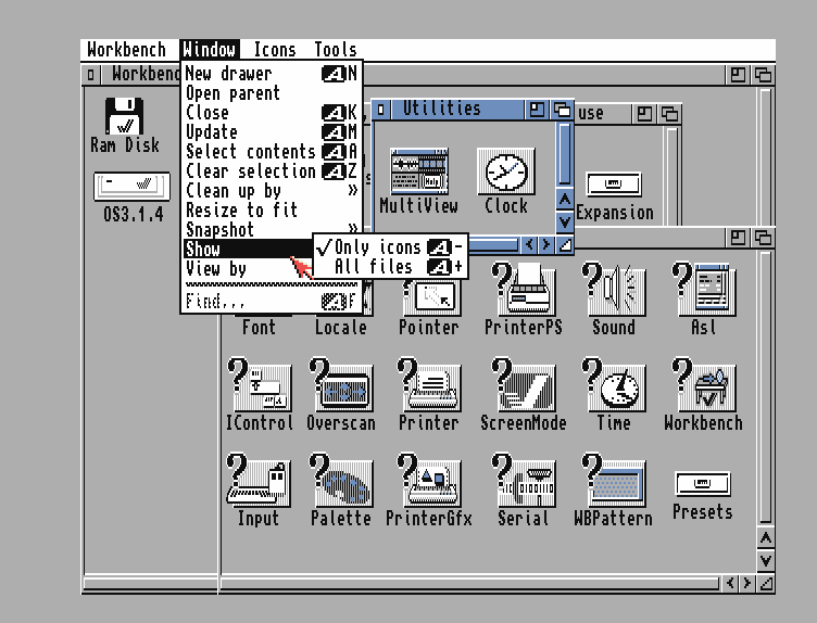 Workbench screen of AmigaOS 3.1.4 with default icons