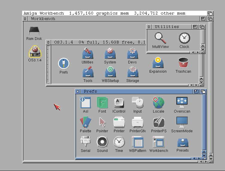 Workbench screen of AmigaOS 3.1.4 with GlowIcons #2